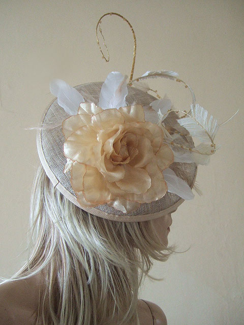 Gold Ivory Saucer With Curled Feathers Silk Flowers And